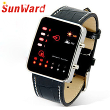 SUNWARD Women Men relogio Wrist Watch Digital Red LED Sport Binary Wristwatch PU Leather masculino Stylish bestselling DE28
