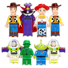 8pcs TOY STORY 4 Mr Potato Head Jessie Woody Buzz Lightyear Alien DIY Assemble Building Blocks minifig Kids Toys Gifts