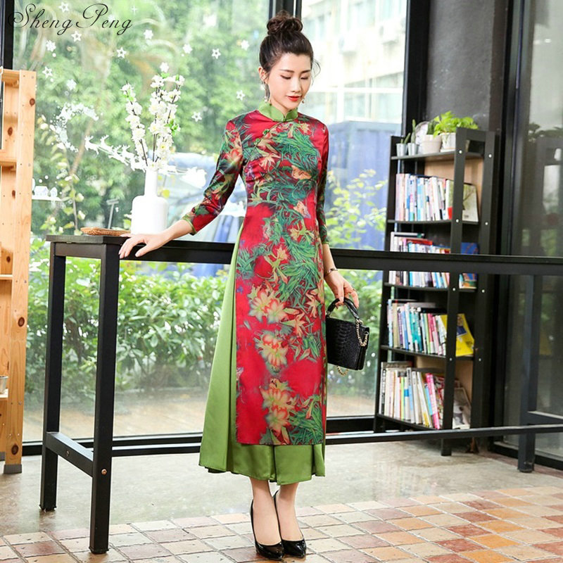 2018 vietnamese ao dai traditional Clothing dress qipao long Chinese cheongsam dress robe chinoise modern cheongsam Q304