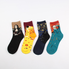 Free Shipping Fashion Art Combed Cotton Crew Women Socks Painting Creative Design Lovers socks Mona Lisa Van Gogh Starry Night