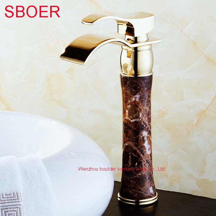 Hot Waterfall Black Jade Marble Stone Gold Solid Brass Copper Bathroom Basin Lavatory  Vanity Sink Vessel Mixer Tap Faucet<br><br>Aliexpress