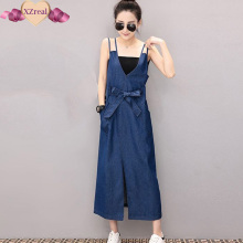 Denim Sundress Long Jeans Dress Denim Clothing Women Blue Tank Slit Midi Dress With Belt Bandage Summer Dresses vestido jeans(China)