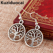 New !!! Hot Fashion Fine Jewelry Bohemian Retro Style Ancient Silver Personality Peace Tree Gift Stud Earrings For Women E-536