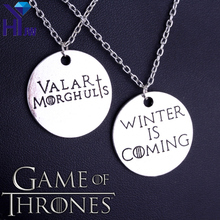 Unique Design Game of Thrones Letter Winter Is Coming Valar Morghulis Pendant Necklace BFF Best Friend Couple Necklace Gifts