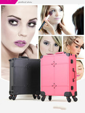 2 PCS Lighted Makeup Box with Mirror table Legs Trolley Cosmetic Case Professional