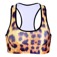 Women Ladies Stretch Padded Bra Racer back Bra Crop Tops Yellow Leopard Brass S M L Drop shop(China)