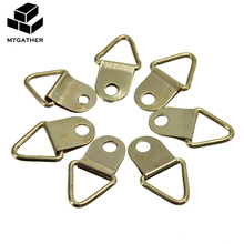 MTGATHER 50pcs Universal Strong Golden D Rings Decor Picture Frames Hanger Hooks Hanging Triangle Screws Helper(China)