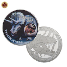 WR Triceratops Dinosaur World Metal Coin 999.9 Silver Plated Silver Challenge Coins One Million Dollars Jurassic Time Gifts
