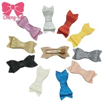 Bling 3 Inch Glitter Hair Bow With Clip For Girls Stack Bows  With Clip Handmade Hair Accessories 11Pcs/lot
