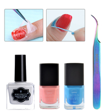 Peel Off Nail Latex Liquid Tape with Colorful Curved Tweezer Kit BORN PRETTY Manicure Nail Art Tool Set(China)