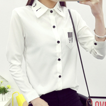 White Blouse Preppy Style Musical Note Embroidery Turn-down Collar White Shirt Long Sleeve Tops Casual Plus Size S-2XL T6824