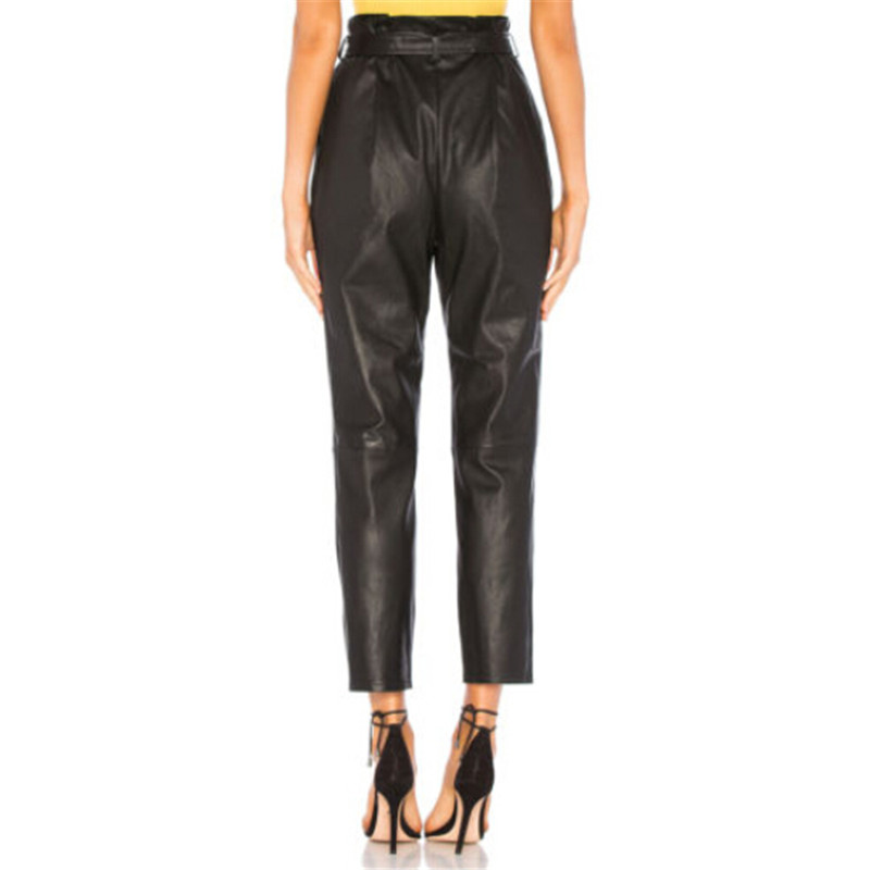 Women arrival Sexy Black Pants With Belt Hot Sale Ladies Slim Pu Leather Trousers Wet Look High Waist Stretch Slim Pencil Pants