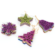 Xmas Decoration 6pcs Toddler Door Wall Hanging Preschool Craft Kids DIY Plastic Christmas Tree Set with Ornaments Children Gift(China)