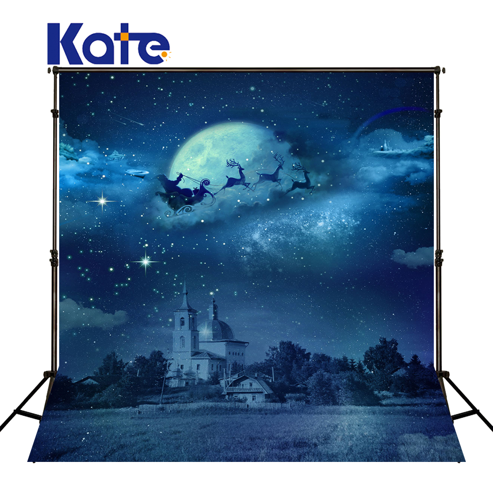 KATE Photo Background 8x8ft Christmas Backdrop Photography Backdrops Night Sky Blue Backdrop Castle Studio Backdrops for Studio <br>