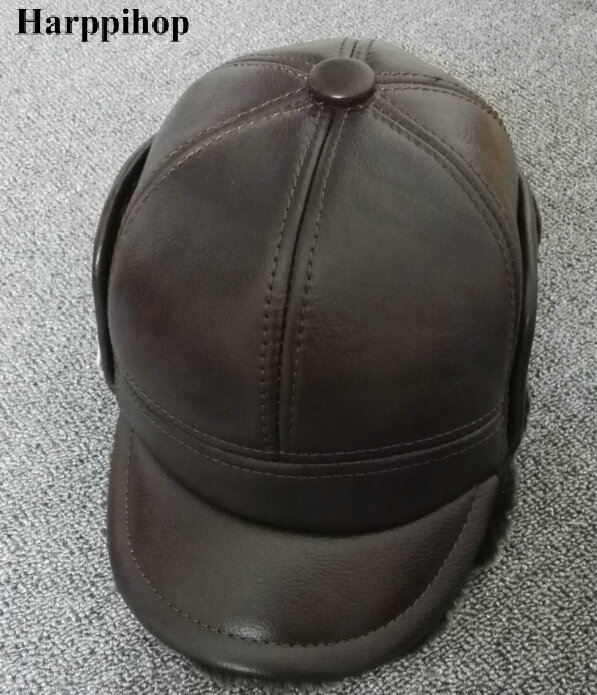 Harppihop 2017 Male Winter Outdoor Ear Protection Bomber Hat Man Genuine Leather Faux Fur Inside Ultra Large Size 55-63cm Caps<br>