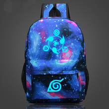 Naruto write round eyes school students schoolbag men and women shoulder bag Korean couple cartoon casual canvas backpack