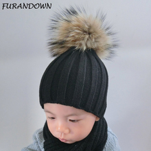 FURANDOWN 2017 Fashion Girls Boys Winter Hat Children Caps Real Raccoon 15cm Fur pompom Beanies Kids Baby Hats(China)