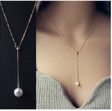 NK623 New Girl Colar Bijoux Collier Imitation Pearl Pendant Maxi Statement Chain Necklace Pendants For Women Wedding Collares