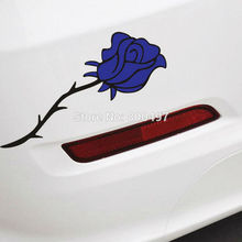 10 x Red Rose or Blue Rose Flowers Car Decals Car-covers Car Styling for Tesla Mazda Toyota Chevrolet Ford Hyundai Volkswagen(China)