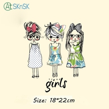 2pcs DIY T-shirt decoration summer appliques heat transfer pattern offset iron on cute girl printing paste patches for clothing