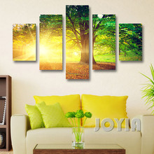 Modern Wall Decor Canvas Prints Morning Sunrise Abstract Landscape Fantasy Natural Green Tree Art Paintings 5 Pieces No Frame