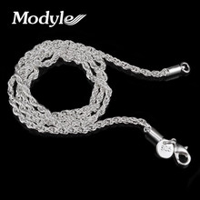 Modyle 3mm Rope chain necklace,Wholesale lots Fashion jewelry Silver-Color jewelry necklaces & pendants