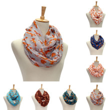 Women Vintage Fox Animal Printed Long Soft Cotton Voile Scarf Shawl Wrap Scarves