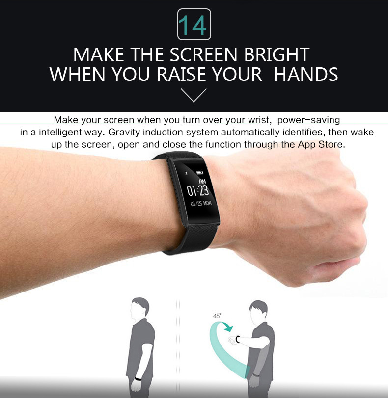 Fitness Tracker Smart Bracelet Blood Pressure Blood Oxygen Heart Rate Fatigue Monitor Wristband Sports Smartband for Phones 15
