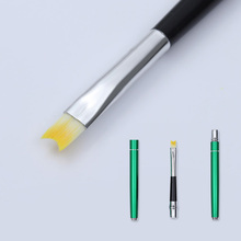 Half Moon Shape Nail Art Brush French Smile Acrylic Crystal Green Handle UV Gel Painting Drawing Pen Liner Tools Manicure