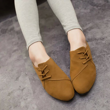2015 Spring Casual Women Shoes Women Nubuck Leather lace-Up Flat Shoes Handsome Head Toe Shoes Lazy Shoes Mujer Zapatos