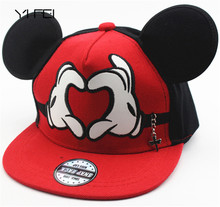 YIFEI 2017 New cartoon cute Mickey baseball cap big ear Mouse Snapback Hats children Kids brand Hip-hop cap Bone gorra Chapeau(China)