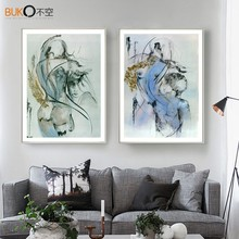 Decorative painting art print painting female nudes waterproof canvas impressionist style sexy body line pattern blue abstract m