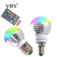 LED RGB Bulb Lamp E27 E14 AC85-265V 3W LED Changeable Spot Blubs Light Magic Holiday RGB lighting+IR Remote Control 16 Colors