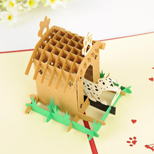 (10 piece/lot)Korea Creative 3D Stereoscopic Pet Dog Paradise Greeting Card Handmade Carved Hollow Paper Child Birthday Card