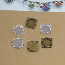 Inner:12mm 40pcs/Bag Antique Bronze/Silver Color Blank Pendant Trays Hanger,Base Setting Zakka Glass Cabochons(China)