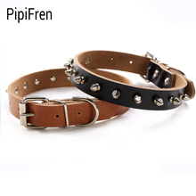 PipiFren Genuine leather Dogs Collars Spiked Puppy Necklace For Pets Cats Collar Accessories Supplies kedi tasma hundehalsband