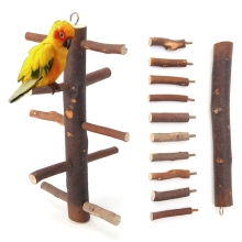 New Funny Parrot Bird Wooden Rotate Ladder Stand Play Toys Cage Climbing(China)