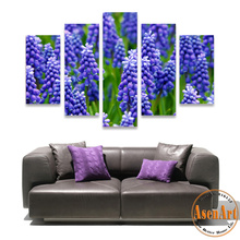 5 Panel Wall Art Canvas Prints Artwork Lavender Purple Flower Painting for Living Room Bedroom Wall Decor Unframed