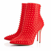 Brand Snakilta Spiked Women Shoes Leather Studded Ankle Boots Black Red High Heels Pumps Sole Bota Mujer Fashion Chelsea Size 46(China)
