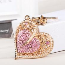 New Fashion Sweet Heart Pearls Crystal Charm Pendant Purse Bag Car Key Ring Chain Wedding Party Jewelry Favorite Gift