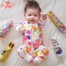 Newborn Baby Rompers Jumpsuit Floral Print Baby Romper Next Baby Born Rpmper 4-24 Months Kids Playsuit Pajamas Toddler Outfits(China)
