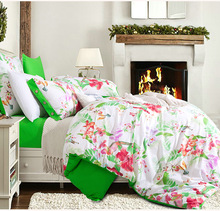 New American style green and red flower fashion 4pcs 100% cotton 1.5m-2.0m bed suit bedding set duvet/comforter cover set/3264