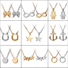 13 Styles Dainty Karma Circle Minimalist Tiny Chain Jewelry Bridesmaid Remaider Balance Pendant Necklaces With Message Card(China)