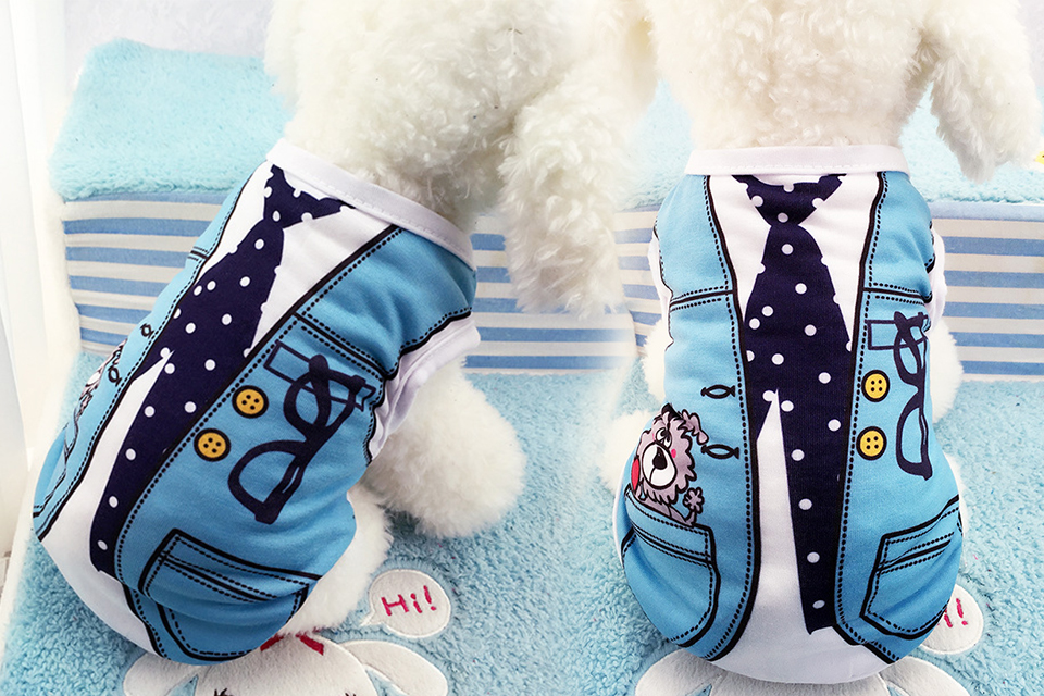 PET Cheap Dog Clothes With Free Shipping Mesh Cute Dog Vest 8 Cartoon Styles Spring Summer Dog Clothes For Small Dogs 609