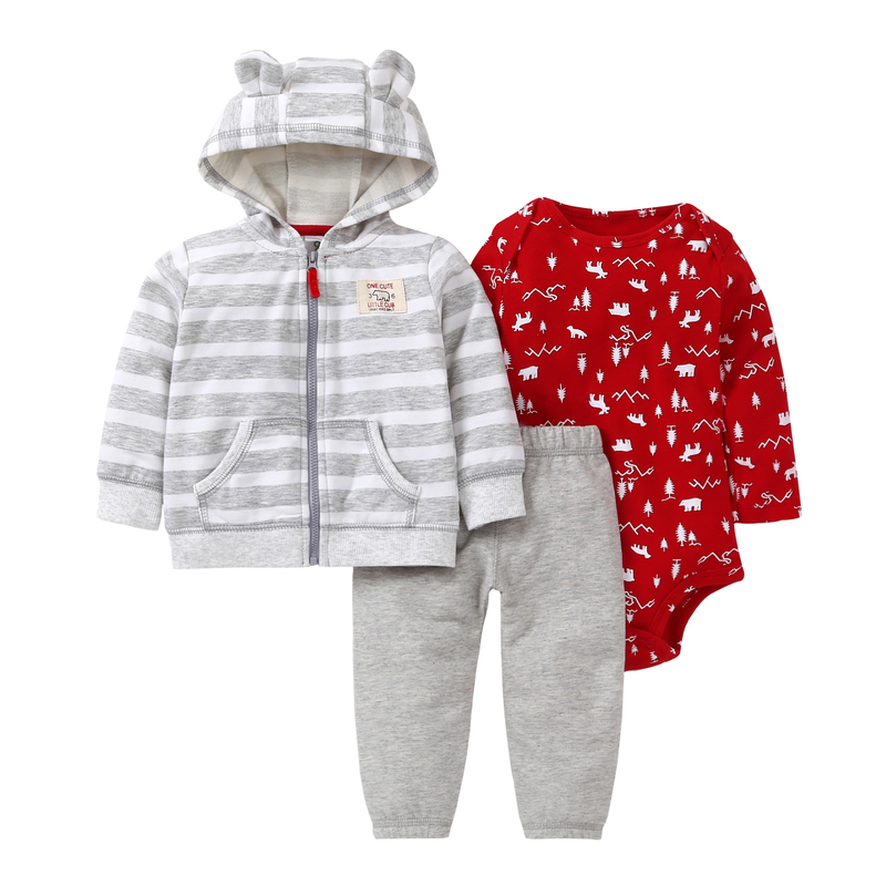 bebek giyim baby girls clothing set animal bear long sleeve hooded stripe+romper+Drawstring trouser 3pcs/set  newborn clothes