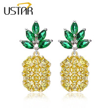 USTAR NEW Pineapple Stud Earring for Women 925 Sterling Silver Pin Green Zircon Crystals Earrings female Ear brincos Pending(China)