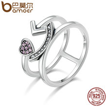 BAMOER 100% 925 Sterling Silver Double Layer Pleasure Smiling Face Open Finger Rings for Women Authentic Silver Jewelry SCR135(China)