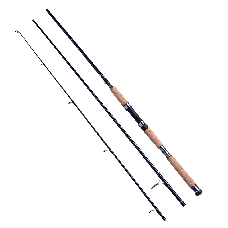 2.4/2.7/3m 3PCE PORTABLE spinning fishing rod MH FAST cork wood handle bass fishing pole spinning carbon fiber lure fishing rod(China)