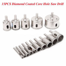 15pcs New 6mm-50mm  Diamond tool drill bit hole saw set for glass ceramic marble