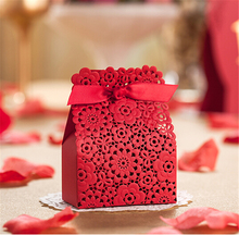 Romantic Wedding Event Party Supplies Decoration Accessories Red Laser Cut Gift Sweet Candy Favors Gift Bag Box For Guest(China)